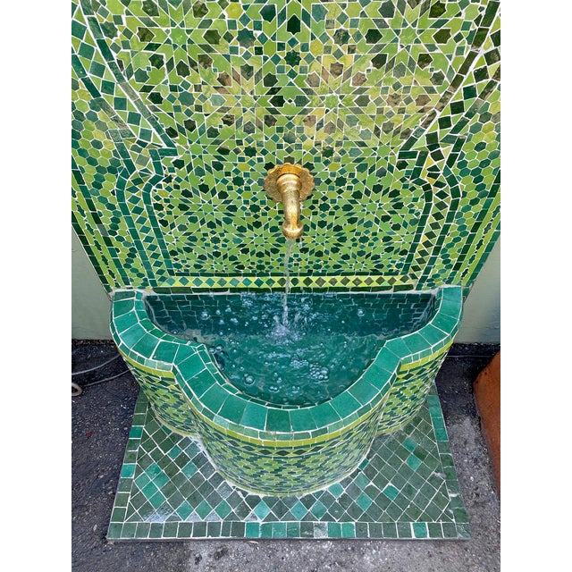 Green Moroccan Tile Wall Fountain For Sale - Image 4 of 7