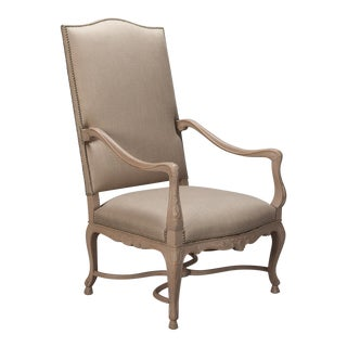 Tall French Arm Chair with Painted Frame