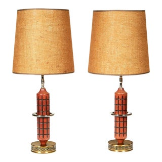 1960s Wood & Burlap Shade Table Lamps, Pair For Sale