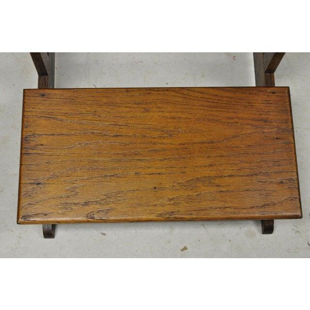 Brown Vintage Arts & Crafts Mission Oak Wood Prayer Kneeler Kneeling Bench Seat For Sale - Image 8 of 12