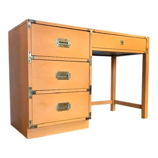 1960s Orange Campaign Bernhardt Writing Desk For Sale