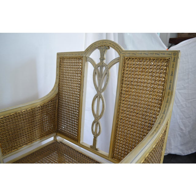 1900s 1905 Neoclassical Adams Painted Caned Chaise For Sale - Image 5 of 10