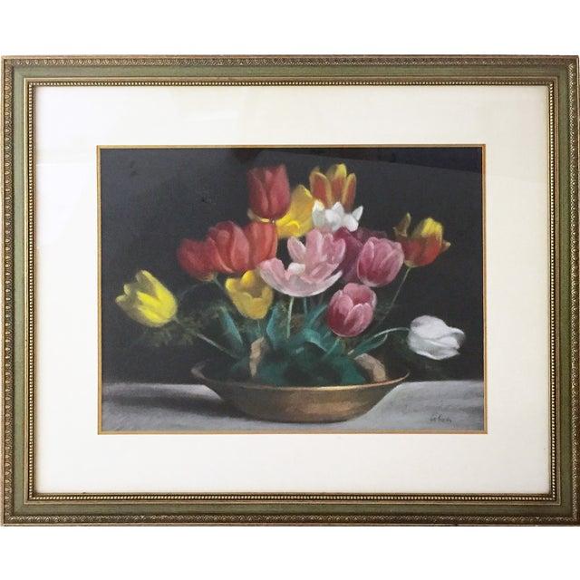 Vintage Pastel Tulip Still Life For Sale