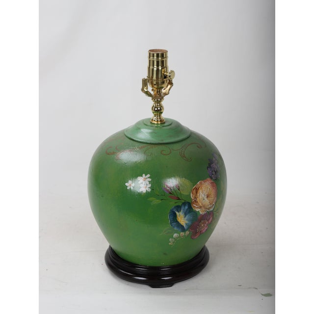 Shabby Chic 20th Century Art Deco Hand Painted Porcelain Table Lamp For Sale - Image 3 of 9