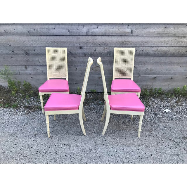 Hickory Manufacturing Co. faux bamboo and cane side/dining chairs with leather cushions. They are in really good vintage...