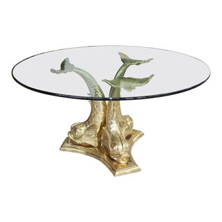 """Dolphin Dining or Center Table Polished Brass Base With 60"""" Glass Top 1970s For Sale"""