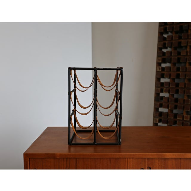 1955 Arthur Umanoff Iron and Leather Straps Wine Rack For Sale In Los Angeles - Image 6 of 9