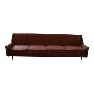 Mid-Century Style Brown Sofa