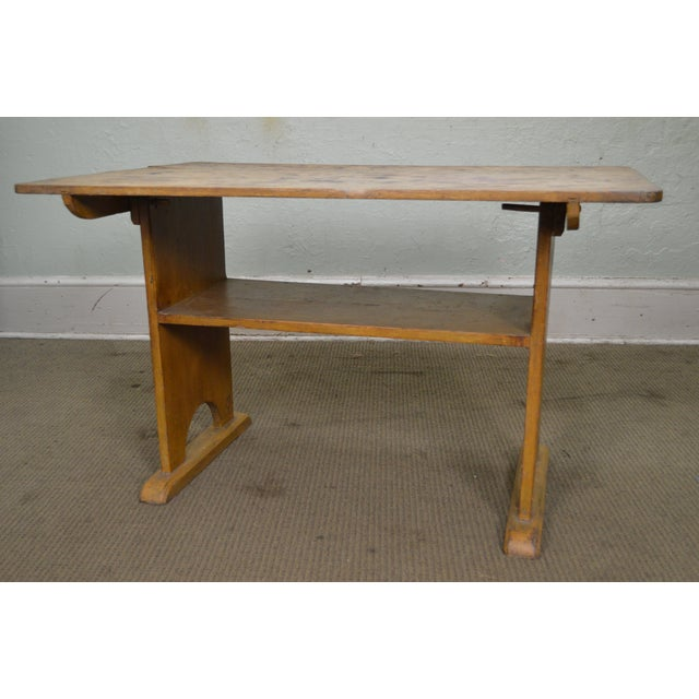 Antique Primitive Yellow Painted Pine Hutch Table Bench For Sale - Image 9 of 11
