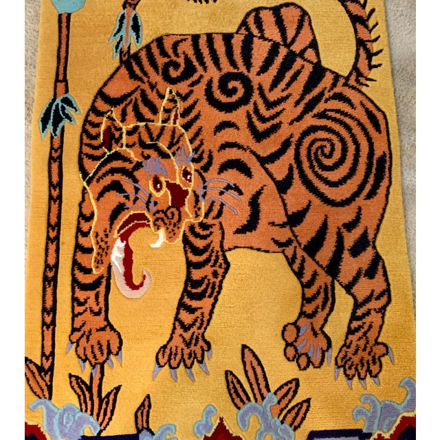 Mid 20th Century Hand Knotted Indian Wool Tiger Rug, 4' X 6' For Sale - Image 5 of 7