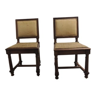 Pair of English Side Chairs With Upholstered Back in Fortuny Tapa Pattern For Sale