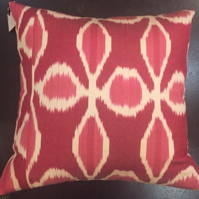 Pair of beautiful floral Ikat pillows in magenta, cream and pink. These accent pillows have zipper back and come as covers...