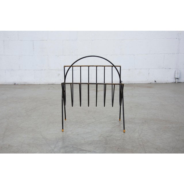 Carl Aubock Style Black Wire Magazine Rack - Image 9 of 9