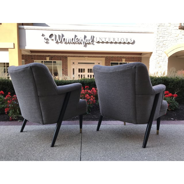 Mid Century Modern Vintage Gray Tweed Dunbar Era Occasional Club Chairs- a Pair MCM For Sale - Image 4 of 8