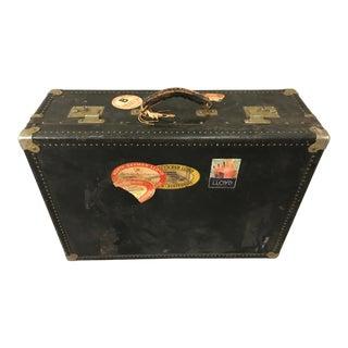 1930's Vintage Suitcase With Norddeutscher Lloyd Bremen Stateroom Stickers