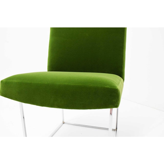 Green 1970s Vintage Milo Baughman Dining Chairs in Italian Velvet - Set of 8 For Sale - Image 8 of 11