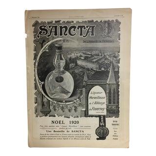 Original 1920 French Sancta Liqueur Ad For Sale