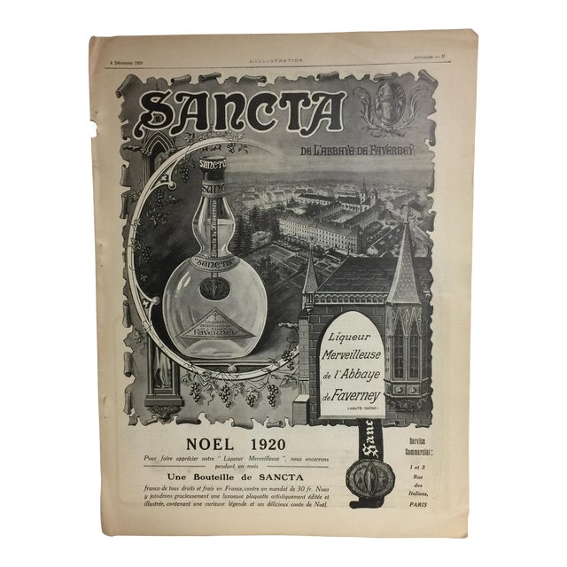 Original 1920 French Sancta Liqueur Ad For Sale