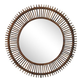 The 'Oculus' Round Rattan Mirror For Sale