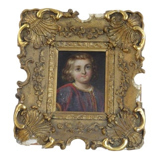 19th Century Ornate Gold Picture Frame With Portrait of Young Boy For Sale