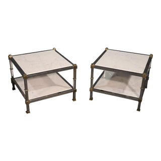 Steel and Brass White Carrara Marble Top Directoire Style End Tables - a Pair For Sale