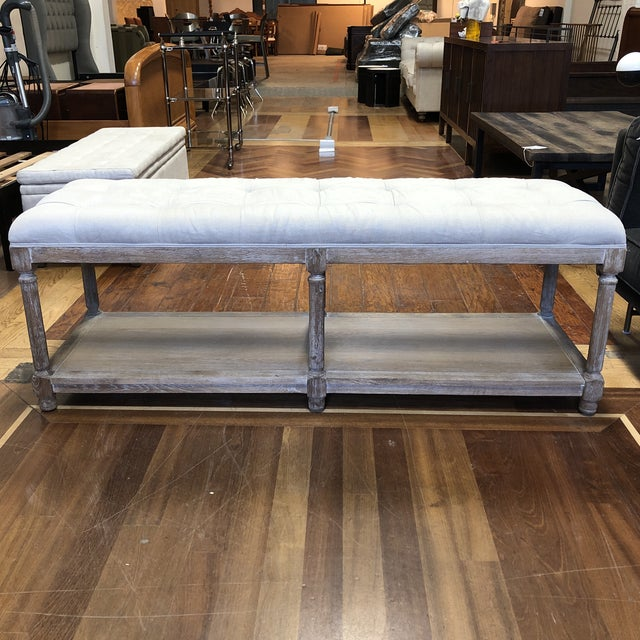 Ballard Designs Saverne Tufted Bench For Sale - Image 10 of 10