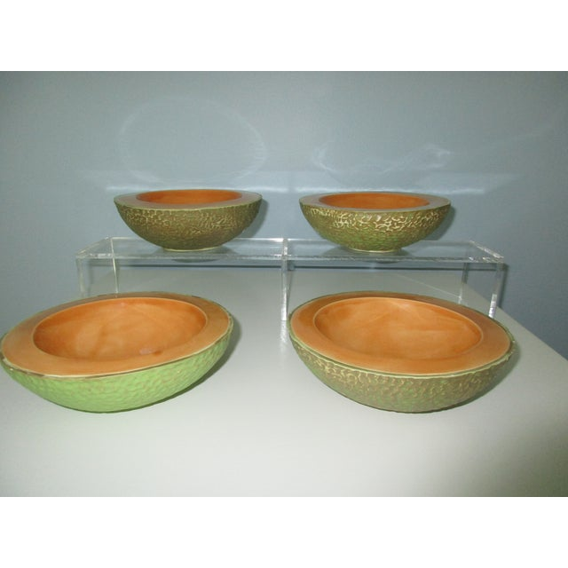 Ceramic Vintage Cantaloupe Serving Bowls - Set of 4 For Sale - Image 7 of 13