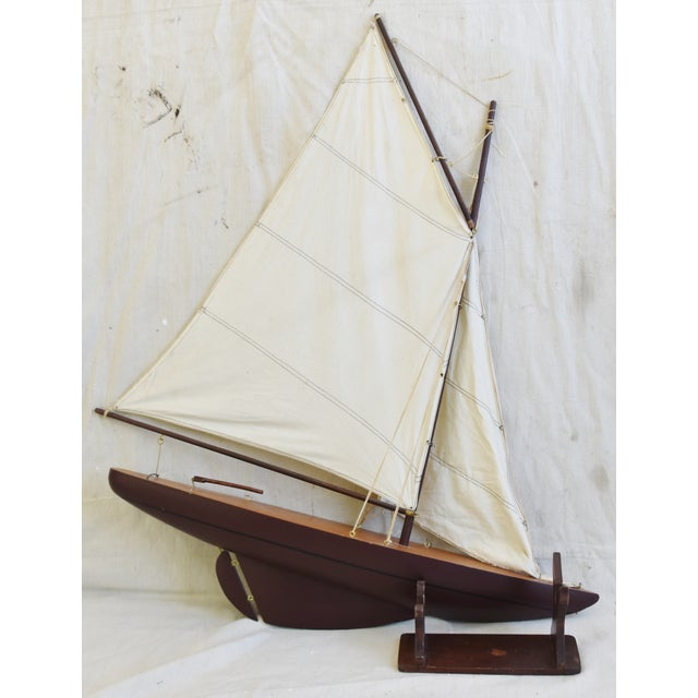 Vintage Nautical Sailing Ship/Boat Model W/Stand For Sale - Image 10 of 13