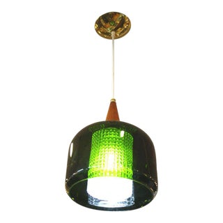 Mid Century Handblown Green Glass Pendant Light by Orrefors For Sale