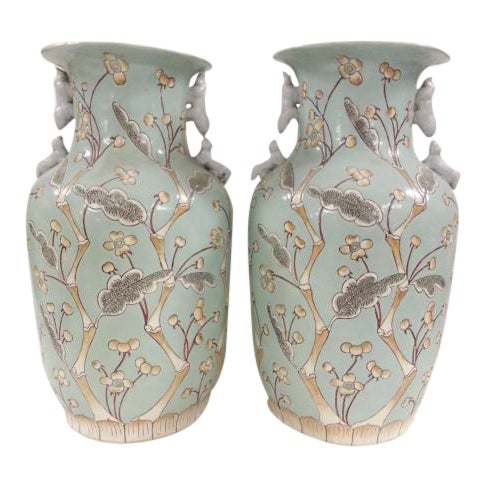 Chinese Vintage Bird & Flower Porcelain Vases - A Pair - Image 1 of 6