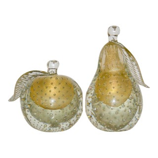 Barovier eToso Murano Glass Pear & Apple Gold Flecked Controlled Bubbles Bookends - a Pair For Sale