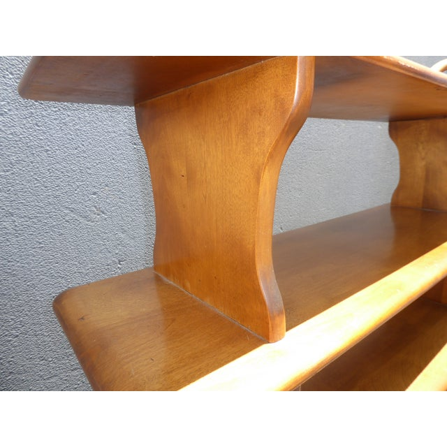 Vintage Mid-Century Modern 3 Tier Maple Bookcase For Sale - Image 10 of 11