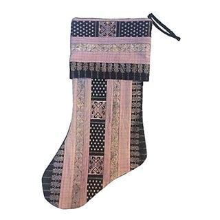 Vintage Tribal Silk Ribbon Christmas Stocking For Sale