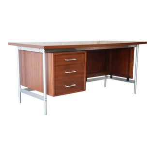 Jens Risom Mid-Century Modern Executive Desk in Walnut, Cane, and Steel For Sale