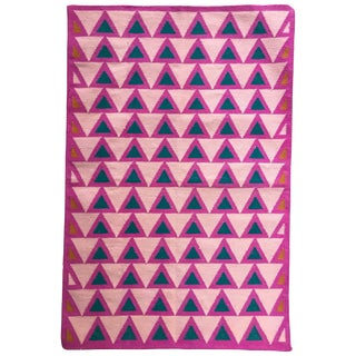 Geometric Maya Candy Pink Handwoven Modern Cotton Rug, Carpet and Durrie - 2'x3' For Sale