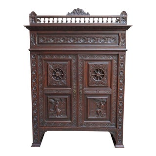 Antique French Carved Walnut Bookcase