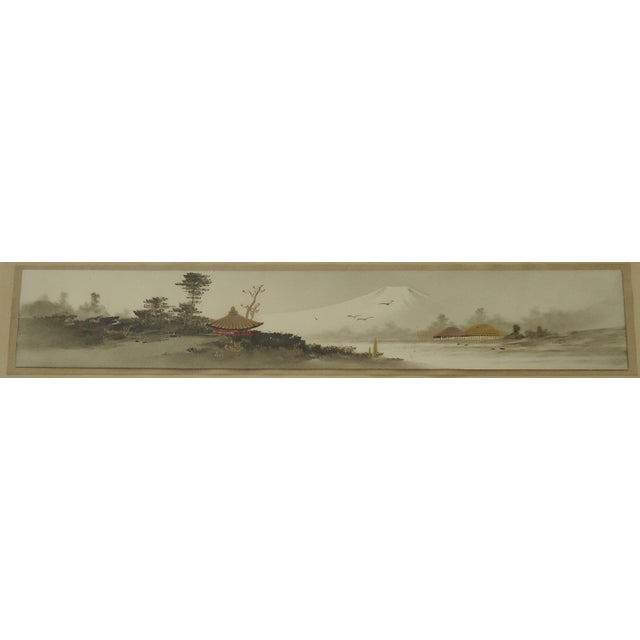 Asian Antique Japanese Landscape Painting Mt Fuji For Sale - Image 3 of 5
