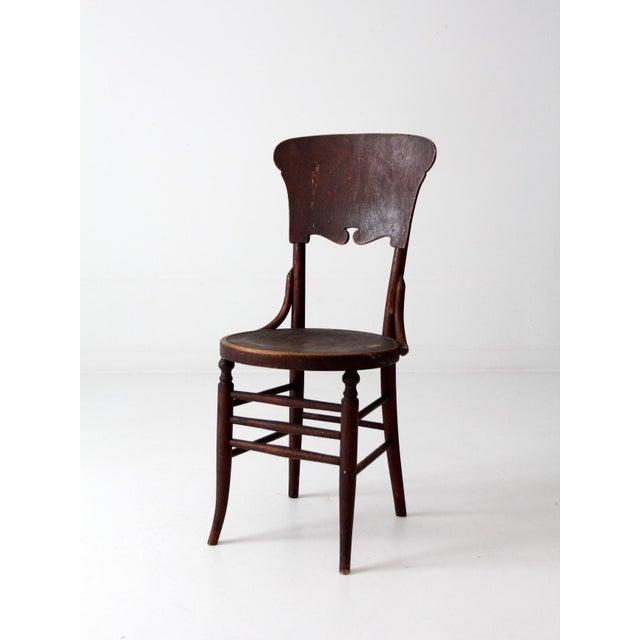 Art Nouveau Antique Round Seat Chair For Sale - Image 3 of 8