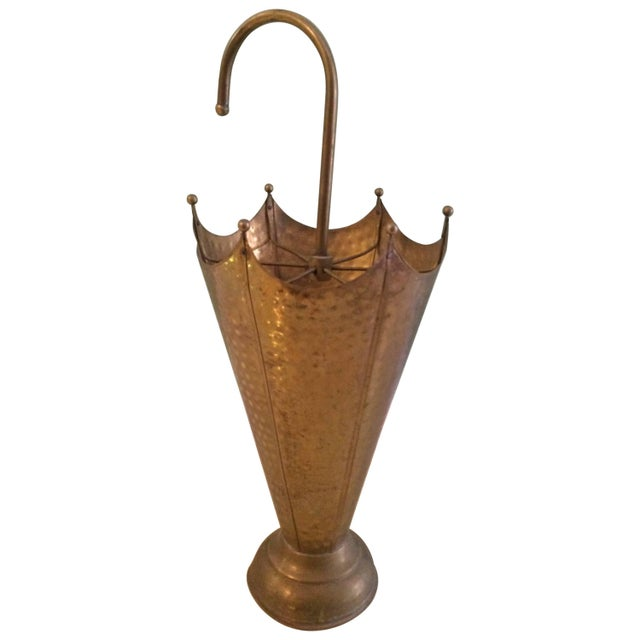 French Vintage French Hammered Brass Shaped Umbrella Stand For Sale - Image 3 of 3