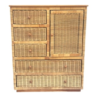 20th Century Boho Chic Rattan Dresser Wardrobe For Sale