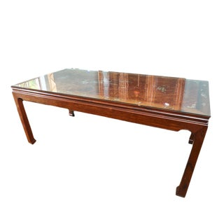 Vintage Custom Made Rosewood Mother of Pearl Inlay Formal Dining Table