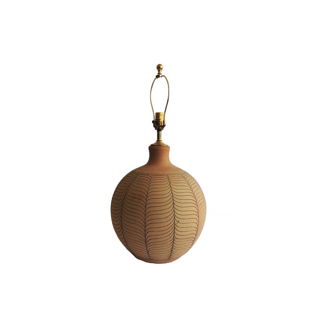 Incised Round Earthenware Lamp by Brown - Image 2 of 3