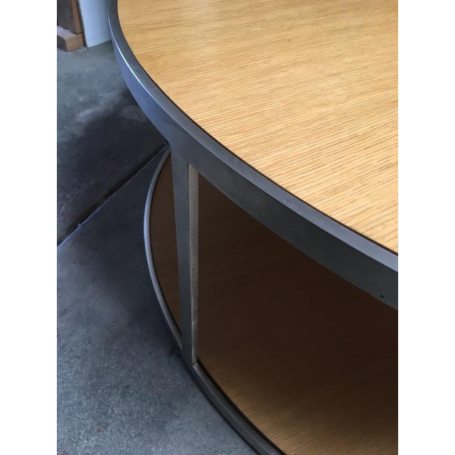 1990s Circular Modern Stainless Steel and Oak Coffee Table For Sale - Image 5 of 11