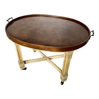 Drexel Heritage Serving Tray Coffee Table on Wheels For Sale
