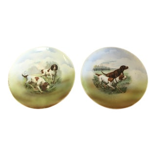 Antique German Dog Plates- a Pair For Sale