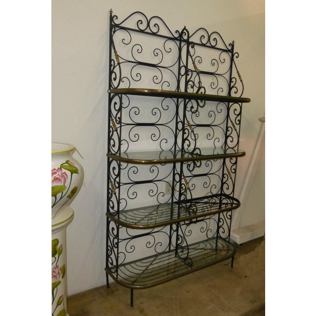 Vintage Baker's Rack Solid Wrought Iron W Solid Brass Hardware Bookcase For Sale - Image 5 of 11