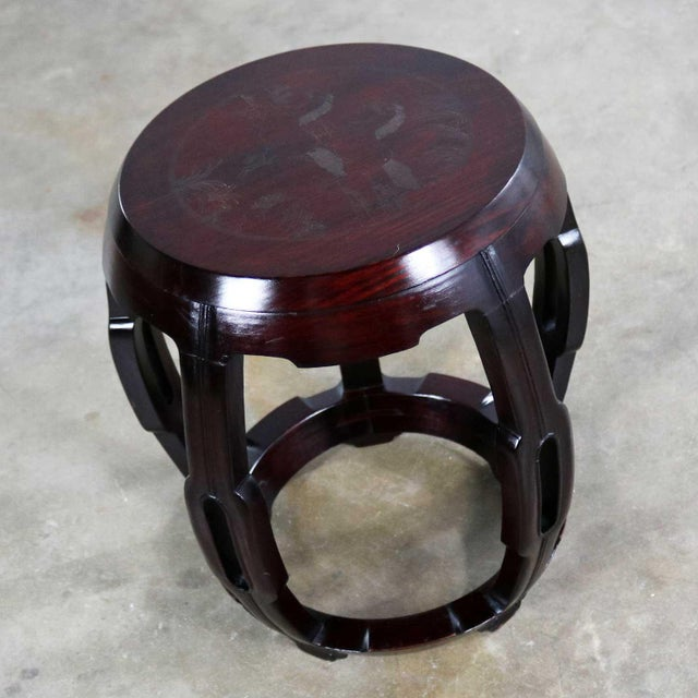 Mid 20th Century Vintage Asian Rosewood Garden Stool or Barrel Drum Table With Brass Inlaid Design For Sale - Image 5 of 13