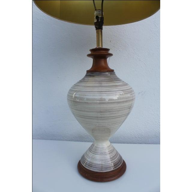Danish Modern Vintage Danish Ceramic and Teak Table Lamp For Sale - Image 3 of 8