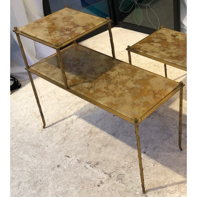 1950s Maison Bagues Superb Gold Bronze Two Tier Side Tables With Eglomise Mirror Top For Sale - Image 5 of 6