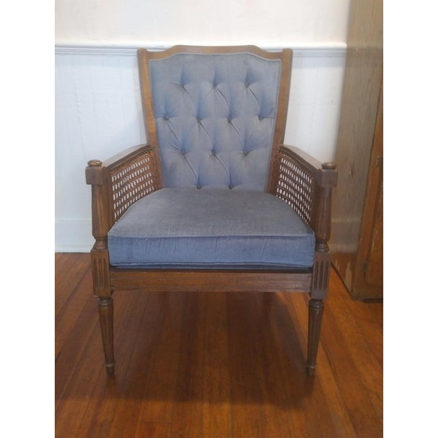 Mid-Century Wingback Blue Upholstered Caned/Cane Chair For Sale - Image 10 of 10